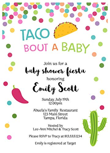 Taco Bout A Baby Baby Shower Invitations Nacho Average Party Sprinkle Invites Tacos Fiesta Bridal Wedding Birthday Any Event Confetti Polka Dots Pink Blue Yellow Gender Neutral Unisex (10 Count) ()