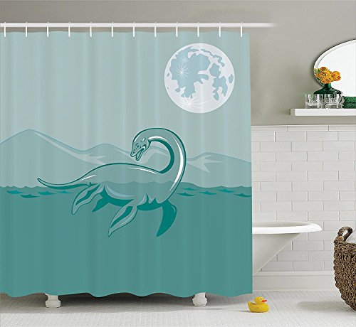 Jurassic Decor Collection Loch Ness Monster Lake Sea Serpent Mountain Moon Waterscape Illustration Image Pattern Polyester Fabric Bathroom Shower Curtain