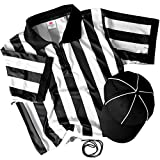 Referee Necessities Bundle - Black & White Striped Referee Jersey, Umpire Hat, and Stainless Steel Ref Whistle with Lanyard - Men's, Unisex Amateur Sports Football Costume Apparel (X-Large)