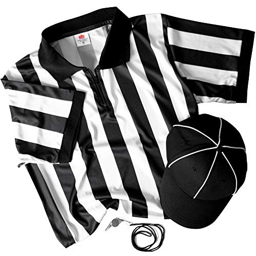 Referee Necessities Bundle - Black & White Striped Referee Jersey, Umpire Hat, and Stainless Steel Ref Whistle with Lanyard - Men's, Unisex Amateur Sports Football Costume Apparel (XX-Large)