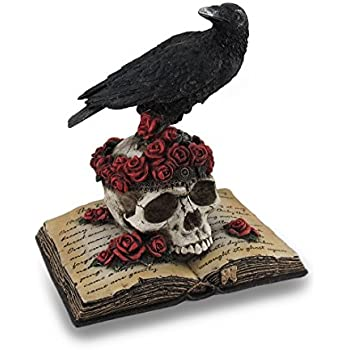 Veronese Design Perched Raven On Rose Skull and Open Poetry Book Statue