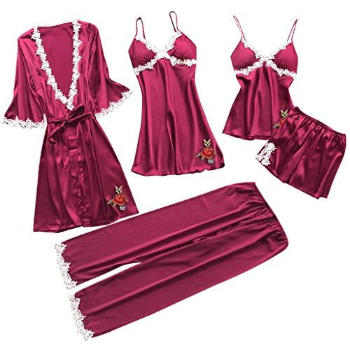 (5PC Suit Women Sexy Lace Lingerie Nightwear Underwear Babydoll Sleepwear Dress)