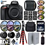 Nikon D5600 DSLR Wi-FI NFC 24.2MP DX CMOS Camera AF-S 18-140mm VR Lens + LED Light kit + Wide Angle & Telephoto Lens + 7PC Filter Kit + Camera Case - International Version