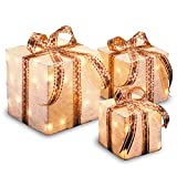 National Tree Set of 3 Assorted White Sisal Gift Boxes with Clear Lights (MZGB-ASST-4L-1)