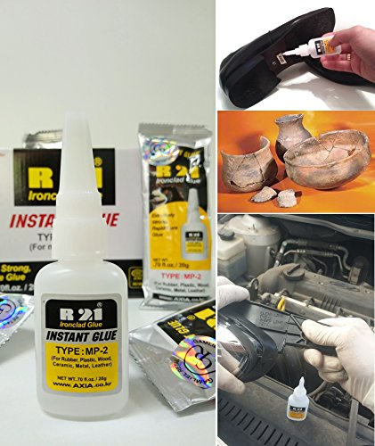 AXIA R21 MP2/GE2 INSTANT GLUE Cyanoacrylate Ironclad Glue Multipurpose For Metal, Plastic,Rubber,Wood,Leather,EPDM,Glass,Cramic, Shoes adhesive, Models Extremely Strong 70fl oz/20g by R21 GLUE