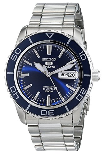Seiko Men's SNZH53 Seiko 5 Automatic Dark Blue Dial Stainless Steel (5 Sports Automatic Blue Dial)