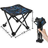 """AILLOVCOL Mini Portable Folding Stool,Folding Camping Stool, Outdoor Folding Chair for BBQ,Camping,Fishing,Travel,Hiking,Garden,Beach,Oxford Cloth Seat with Carry Bag,11.5""""x11.5""""x11.5""""(Camouflage)"""