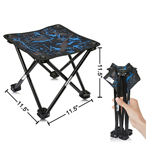 - AILLOVCOL Mini Portable Folding Stool,Folding Camping Stool, Outdoor Folding Chair for BBQ,Camping,Fishing,Travel,Hiking,Garden,Beach,Oxford Cloth Seat with Carry Bag,11.5