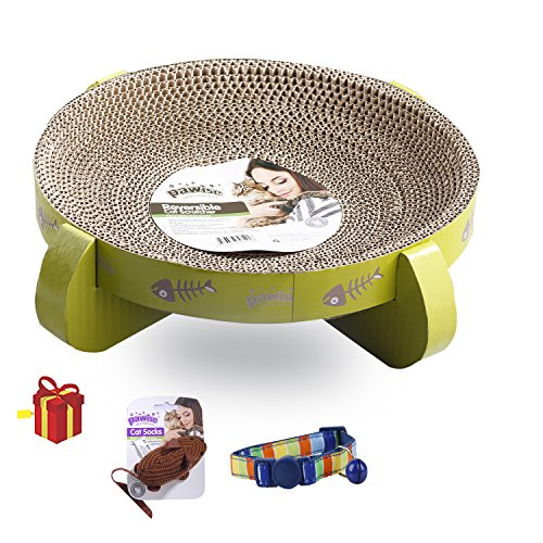 Pawise Cat Scratcher Cardboard Reversible Cat Scratcher Refill Lounge with Cat Toy and Cat Collar