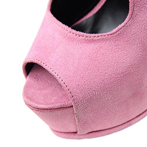 HooH Women's Sexy Peep Toe Ankle Strap Platform Stiletto Sandals Pink lElTehTbu