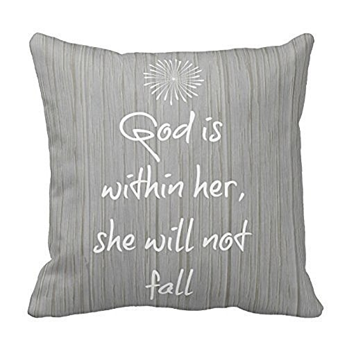 Createforlife White Bible Verse On Gray Wood Pattern Throw Pillow Decorative Inspirational Quotes Pillow Cover Square Throw Pillow Case Cover Quotes One Side Pillow Cover 18×18 inches