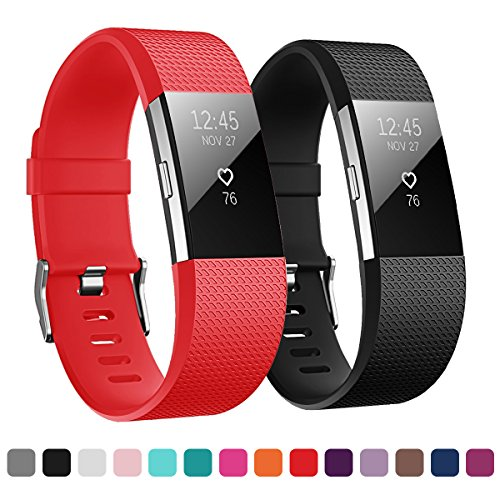 Kutop For Fitbit Charge 2 Bands, Soft Silicone Sports Fitness Accessory Large Small Replacement Strap Bands for Fitbit Charge 2 HR Wristband Women Men Girls Boys ()