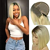 Myfashionhair Front Lace Wig Ombre Blonde Silky Straight Human Hair Wig 8 inch 180% Density Real Hair Wigs with 13x4 Swiss Lace and Adjustable Cap, Pre Plucked Wigs for Women Human Hair (#1B/613)