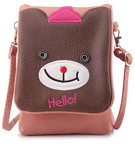 Bhbs Portfolio For Children To Cross Messenger And Ideal Type For Mobile Phone Bear Face Design 13x18 Cm (lxw) - Rosewood