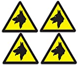 Warning Guard Dogs Security Mini Stickers - Set of 4 Beware of the Dog Car & Van Small Stickers - Premium Self Adhesive Vinyl Decals by TheStickerShop