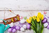LFEEY 9x6ft Vinyl Backdrop Photography Background Happy Easter Painted Eggs Yellow Flowers Spring Butterfly Ribbon White Wood Plank Nature Children Kids Adult Portraits Photo Studio