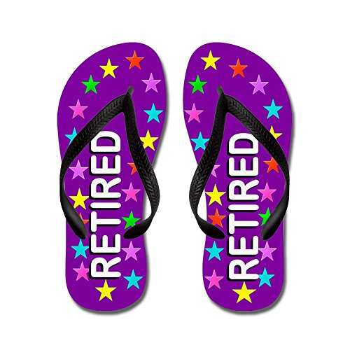 Cafepress Purple Retired - Flip Flops, Grappige String Sandalen, Strand Sandalen Zwart