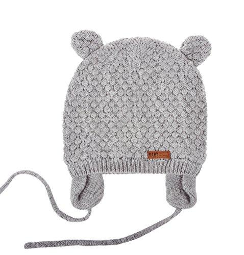 Joyingtwo Soft Warm Knit Wool Cute Bear Baby/Infant/Toddler Beanie Hat Earflap Winter/Autumn, Grey L by Joyingtwo