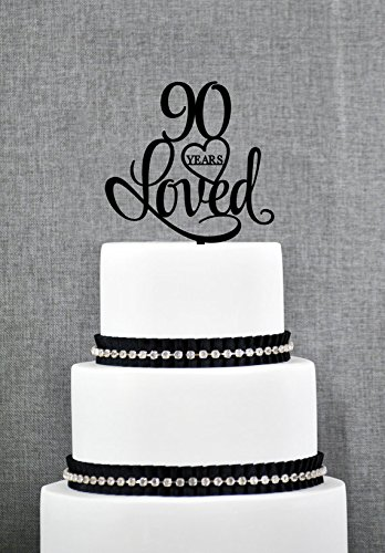90 Years Loved Cake Topper Classy 90th Birthday Elegant Ninetieth Amazoncouk Kitchen Home