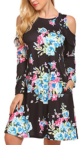 Discount LuckyMore Women's Floral Print Cold Shoulder Casual Swing Tunic Dress With Pockets