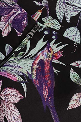 Seide Mehrfarbig Vogel aus Kleid Blätter mit Print bloom AEq8w4n