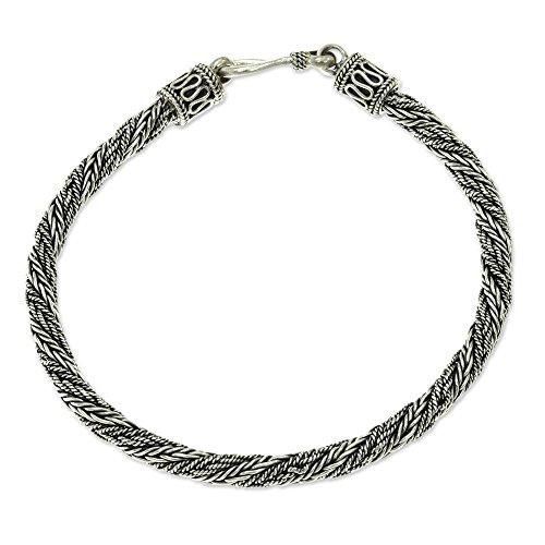 NOVICA .925 Sterling Silver Mens Braided Chain Bracelet, 8 Wyvern Mystique