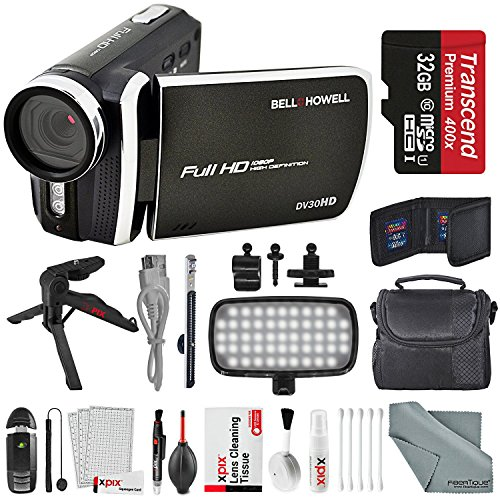 Bell & Howell Black DV30HD 1080p HD Video Camera Camcorder + Deluxe Accessory Bundle + Professional 8 Pc Cleaning Kit