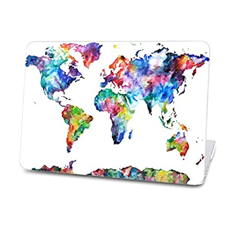 Full Edge Protective Hard Case for MacBook Air 13 (A1369/A1466) Art Image Series Ultra Slim Light Weight Rubberized Hard Case Glossy Clear Crystal Snap-On Hard Cover Case - World (Mb Air)