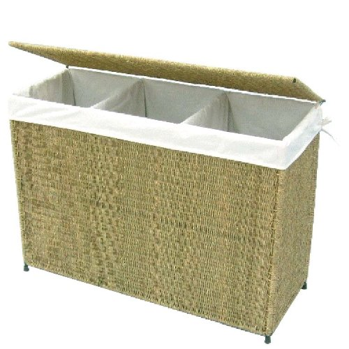 Woven 3-Section Hamper with Liner by America Basket Company