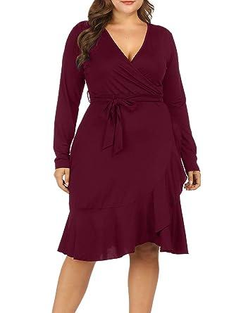 f50485197e99 Allegrace Women Plus Size Wrap V Neck Long Sleeve Ruffle Midi Dress  Fishtail Dresses Wine Red