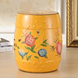 AIDELAI Stool chair New Classical Chinese Style Dressing Stool Stool Changing His Shoes Hand-painted Flowers And Ceramic Drum Stool Stool Antique Benches Trumpet (26 38cm) Saddle Seat ( Color : A )