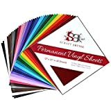 Permanent Outdoor Vinyl (Assorted 40 Pack), 12x12 in Multi Colors, 18 Matte and 2 Glossy (2 of each) Adhesive Backed Liner, Make Monograms Stickers Decals and Signs by Scraft Artise