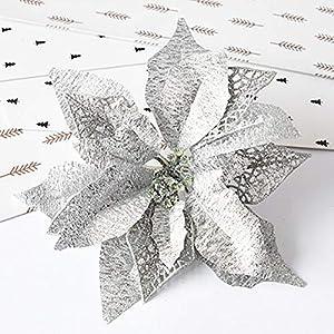 Hanobo 8Pcs Gold Glittery Artificial Christmas Flowers Christmas Tree Ornaments Dia 8.3 Inch 5
