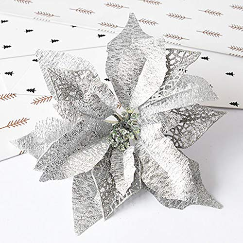 Hanobo 8Pcs Silver Glittery Artificial Christmas Flowers Christmas Tree Ornaments Dia 8.3 Inch