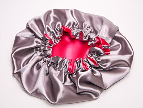 (KINKY PINK & SILVER) (LARGE) 22Inch Reversible Luxuries Pure Satin Hair Bonnet -Safe For All Hair Types - Most Beneficial hair wrap for sleeping cap 50+ colors Available (Microwave Hair Conditioning Cap compare prices)