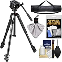 Manfrotto 190X 67 3-Section Aluminum Video Tripod & MVH500AH Fluid Head with Case + Kit
