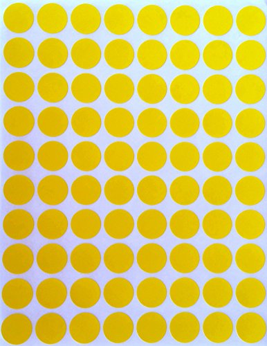 "Color Coding Labels 1/2"" Round - Dot Stickers -- Half inch rounds YELLOW sticker -- 1200 pack"