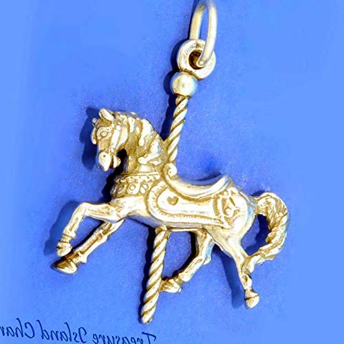 Lot of 1 Pc. Merry-GO-Round Carousel Horse 3D .925 Solid Sterling Silver Charm Pendant Vintage Crafting Pendant Jewelry Making Supplies - DIY for Necklace Bracelet Accessories by CharmingSS