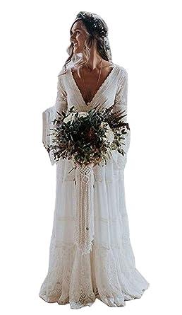 a12b790d5bf Tsbridal Lace Boho Wedding Dress Long Sleeves Wedding DressesIvory-US2