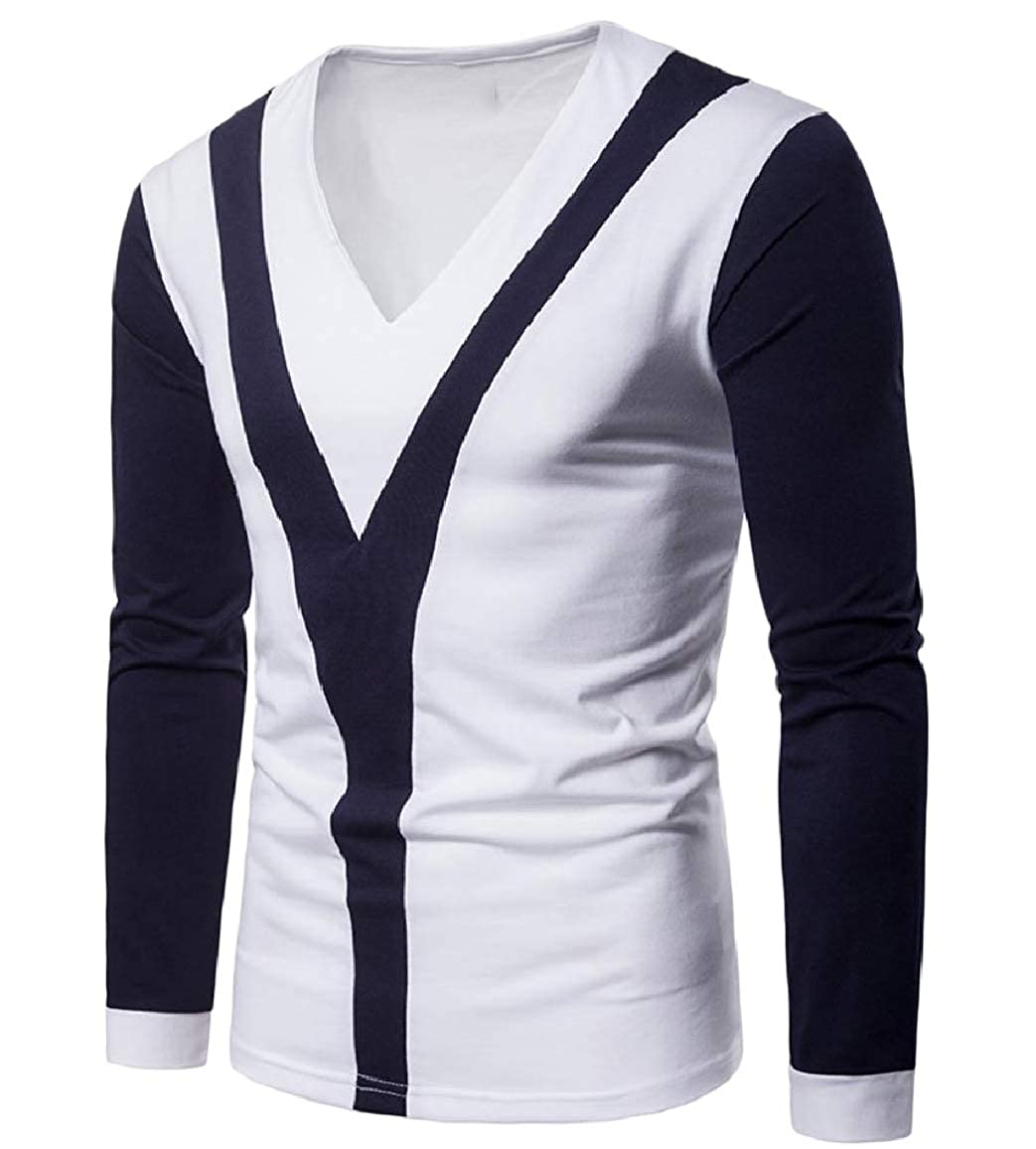 Sebaby Men Stitch Assorted Colors Skinny Long-Sleeve Blouse T-Shirt Tops