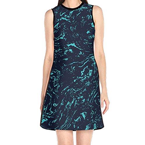 Dress Womens Dresses, Marble Print Green Blue Summer Beach Dresses, Royal Lush Dress for Girl Woman