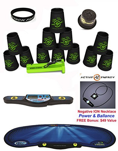 """Speed Stacks Custom Combo Set: 12 PRO Series BLACK 4"""" Cups, Cup Keeper, Quick Release Stem, Pro Timer, Gen 3 Mat, """"Stack Fast"""" Wristband + FREE Bonus: Active Energy Necklace $49 Value"""