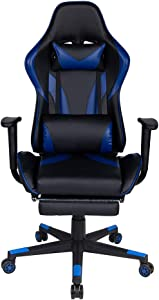 Polar Aurora Gaming Chair Racing Style High-Back PU Leather Office Chair Computer Desk Chair Executive Ergonomic Style Swivel Chair Headrest Lumbar Support (Blue & Black)