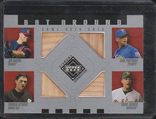 e/Ordonez/Rodriguez/Justice Quad Game Used Bat Baseball Card #BA-TROJ (Upper Deck Used Baseball Cards)