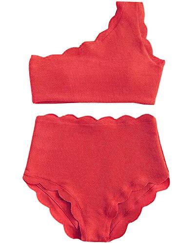 (High Waisted Swimsuit Two Piece Bikini Set Vintage Women Off Shoulder Elastic Swimwear (M, Garnet))