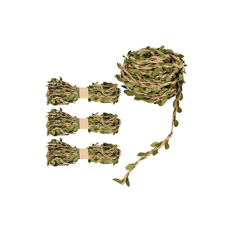silk flower arrangements juvale leaf ribbon burlap twine, diy birthday, wedding & baby shower decor (11 yd, 4 pack)