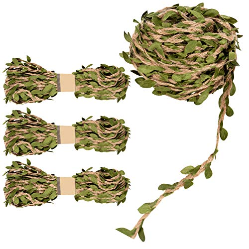 Leaf Garland - 4-Roll Wall Hanging Artificial Burlap Vine Plants Greenery, Vine Ribbon, Vine Rope for Wreath, Headband, Wedding, Home, Jungle Garden Party Decorations, 10M or 32.8 Feet Each