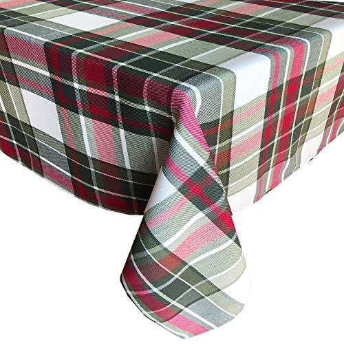 Newbridge Highland Christmas Plaid Fabric Tablecloth, 100% Cotton Weave Tartan Plaid Holiday Tablecloth, 70 Inch Round -