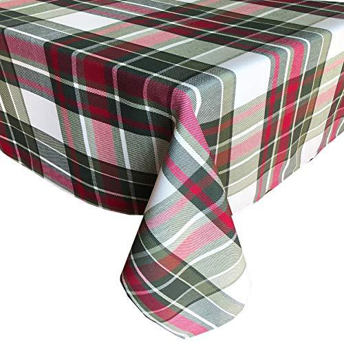 - Newbridge Highland Christmas Plaid Fabric Tablecloth, 100% Cotton Weave Tartan Plaid Holiday Tablecloth, 60 Inch x 84 Inch Oval