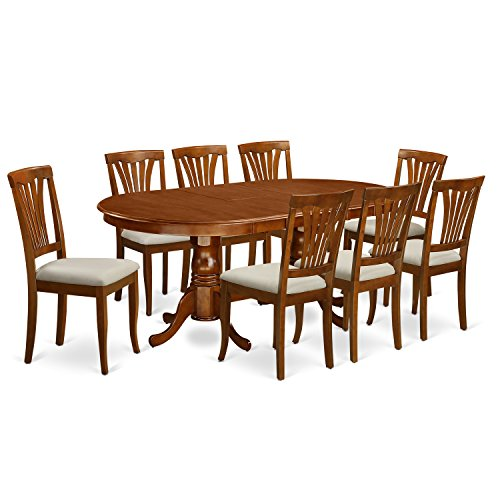 East West Furniture PLAV9-SBR-C 9-Piece Dining Table Set